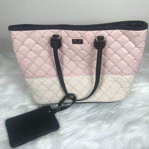 Betsey Johnson NEW Pink White Large Tote & Wallet